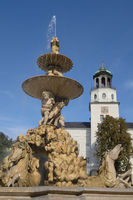 Salzburg - Residence Fountain and carillon tower of the New Residence, Austria
