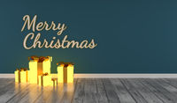 Merry Christmas with glowing gift boxes