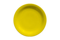 yellow ceramic round plate isolated on white background
