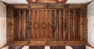 Wooden ornate ceiling with floral pattern decorations, Sultan al Ghuri Mausoleum, Cairo, Egypt