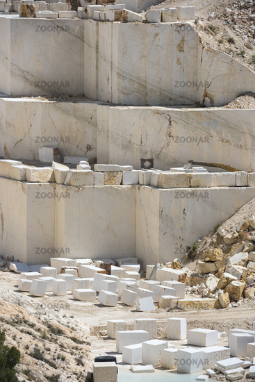 Marble blocks in mine
