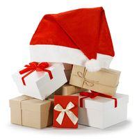 Christmas gifts and Santa hat