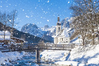 Snowfall in Ramsau, the parish church Saint Sebastian in winter, Ramsau, Berchtesgaden, Bavaria, Ger