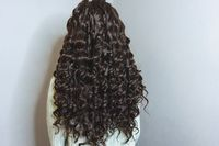 hair weaving, photo of a girl, the result of the work of a beauty salon before and after, afro curls