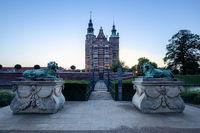 Sunset View of Rosenborg Castle in Copenhagen, Denmark