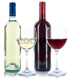 Wein Flaschen Glas Weinflaschen Weinglas Rotwein Weißwein freigestellt Freisteller
