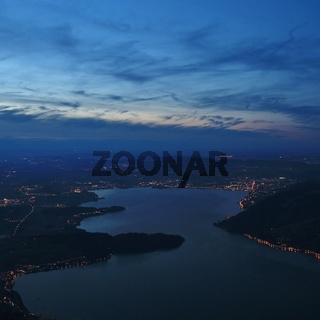 Lake Zugersee by night, view from Mount Rigi.