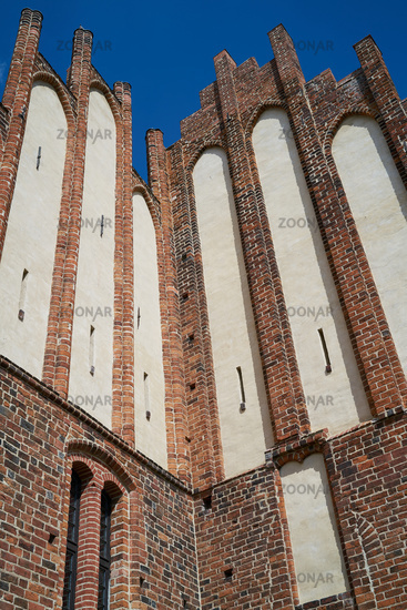 Detail of the facade of the historic Cathedral St. Marien in Havelberg in Germany