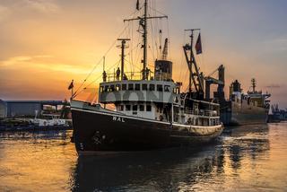 Dampfeisbrecher 'Wal' im Sonnenuntergang