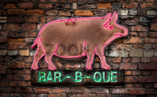 Neon Barbecue Diner Sign