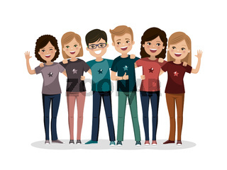 Friends group hugged together. Youth people. Happy boys and girls. Flat vector illustration