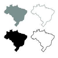 Map of Brazil icon outline set grey black color