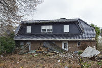 Vacated house in Manheim, demolition in preparation for the expanding lignite surface mine of RWE