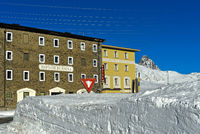 Bernina Hotel, Albergo Ospizio Bernina, in winter on the Bernina pass, Engadin, Grisons, Switzerland