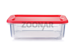 Front view of empty plastic food container