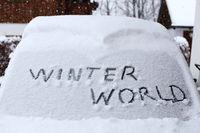 snowy windscreen on car