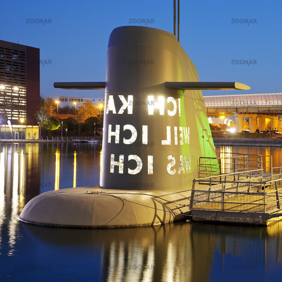 artwork submarine at the Museum Kueppersmuehle in the evening, Duisburg, Germany, Europe