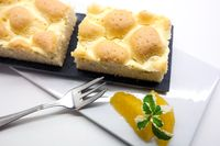 Tasty homemade Pot grid cake on white background, traditional Austrian cake with a lattice design on top of the pastry