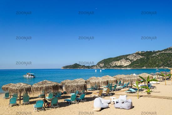 The bay of Agions Geoergios Pagi, a popular tourist destination, Corfu, Greece