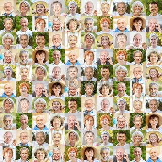 Senioren Portrait Collage als Gesellschaft Konzept
