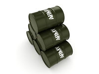 3D rendering army barrels