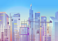 Construction work, cityscape with cranes and skyscrapers, house building