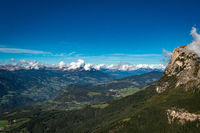 View from the Voelsegg mountain north along the Eisacktal valley overlooking Seis and Kastelruth