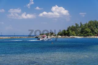 Hellenic Coast Guard Patrol boat at Greek sea.