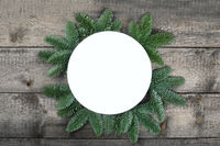 Christmas circle frame of fir branches