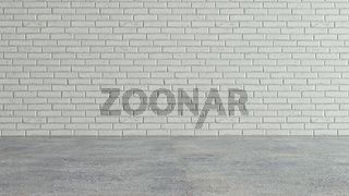 White brick wall and cement floor . 3d render illustration .