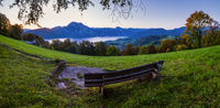 Peaceful autumn Alps mountain lake. Sunrise view to Traunsee lake, Gmundnerberg, Altmunster am Traunsee, Upper Austria.