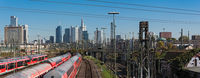 Skyscrapers and the railway aerial of frankfurt am main central station