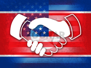 Usa North Korean Peace Holding Hands 3d Illustration