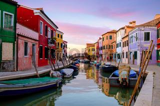 Venice landmark, Colorful Houses in Burano island