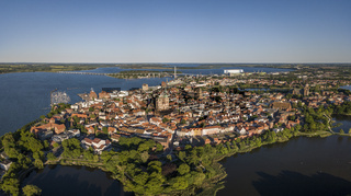 Aerial view of Stralsund, a Hanseatic town in the Pomeranian part of Mecklenburg-Vorpommern