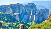 Rocks of Meteora with The Monastery of Roussanou