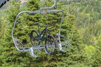 Lift accessed mountain biking with bikes on chairlifts in Park City in summer