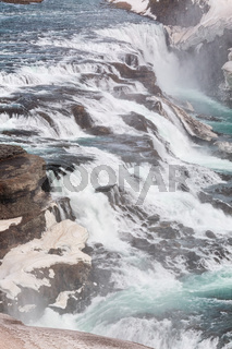 Close up of Gullfoss waterfall in Iceland