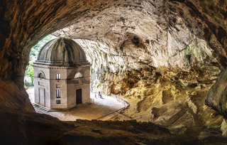 church inside cave in Italy - Marche - the temple of Valadier church near Frasassi caves in Genga Ancona