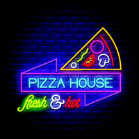 Pizza House - Neon Sign Vector on brick wall background