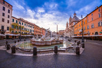 Rome. Piazza Navona square fountains and church dawn view in Rome