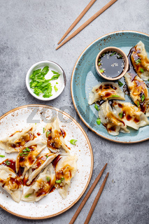 Two plates with asian dumplings