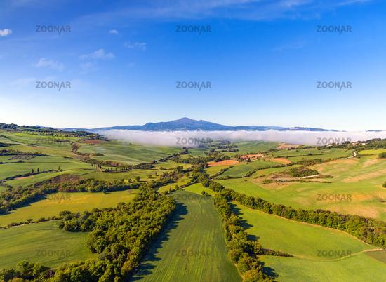 Tuscany aerial panorama at morning