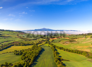 Tuscany aerial panorama at morning