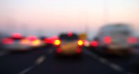 Blurred lights of cars in motion