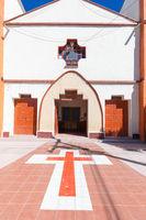 Bolivia Uyuni entrance facade of the cathedral