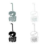 Digestive system icon outline set grey black color