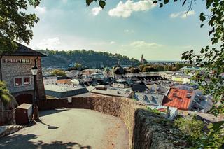 Panoramic view in a Autumn season at a historic city of Salzburg, Austria
