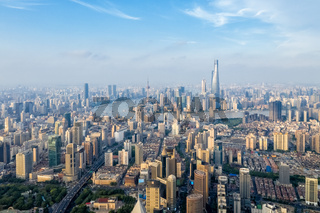aerial view of shanghai cityscape