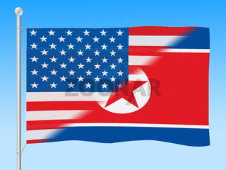 United States Versus American Flag 3d Illustration